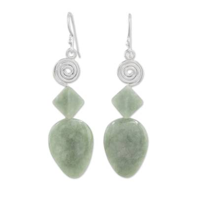 Jade and Silver Spiral Dangle Earrings from Guatemala