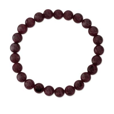 Natural Garnet Beaded Stretch Bracelet from Guatemala