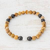 Jasper and jade beaded stretch bracelet, 'Earthy Combination' - Natural Jasper and Jade Stretch Bracelet from Guatemala