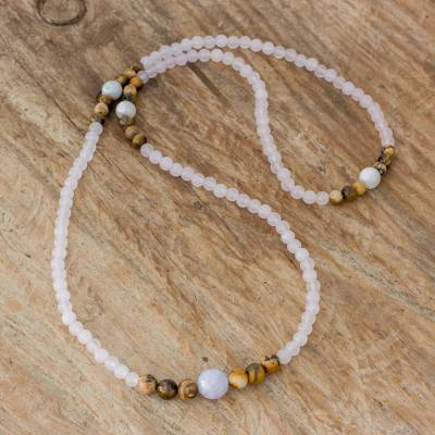 Multi-gemstone beaded necklace, 'Japa Mala Beauty' - Multi-Gemstone Beaded Necklace from Guatemala