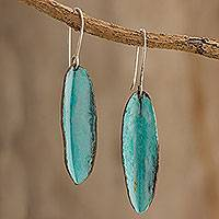 Copper dangle earrings, 'Cacao Pods' - Elongated Oxidized Copper Dangle Earrings from Guatemala