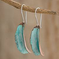 Copper dangle earrings, 'Moonlit Sea' - Handcrafted Oxidized Copper Dangle Earrings from Guatemala