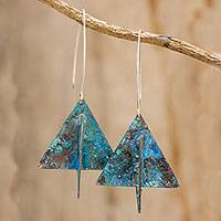 Copper dangle earrings, 'Paper Boats' - Triangular Oxidized Copper Dangle Earrings from Guatemala
