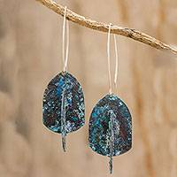 Copper dangle earrings, 'In the Sea' - Oxidized Green Copper Dangle Earrings from Guatemala