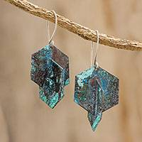 Copper dangle earrings, 'Hexagons' - Hexagonal Oxidized Copper Dangle Earrings from Guatemala