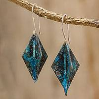 Copper dangle earrings, 'Diamonds Below the Sea' - Diamond Oxidized Copper Dangle Earrings from Guatemala