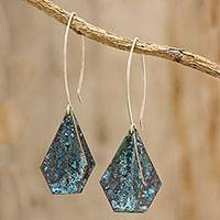 Copper dangle earrings, 'Above the Sea' - Pointed Copper Dangle Earrings Handcrafted in Guatemala