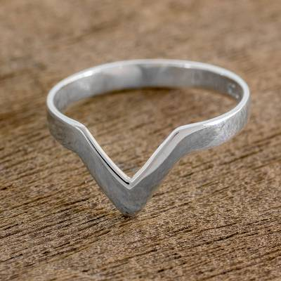 Sterling silver band ring, 'Beauty and Sensibility' - Sterling Silver Pointed Band Ring from Guatemala