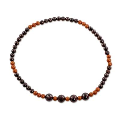 Garnet and Aventurine Beaded Anklet from Guatemala