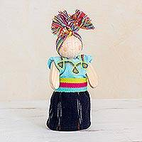 Wood decorative doll, 'Friendly Companion' - Light Blue and Navy Pinewood Worry Doll from Guatemala
