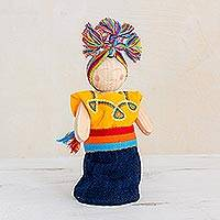 Wood decorative doll, 'Loving Friend' - Yellow and Blue Pinewood Worry Doll from Guatemala