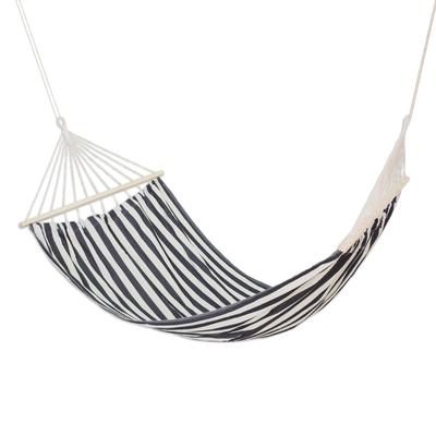 Black and White Striped Cotton Hammock (Single)