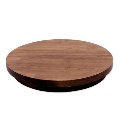 Cypress Wood Spinning Lazy Susan Tray from Guatemala