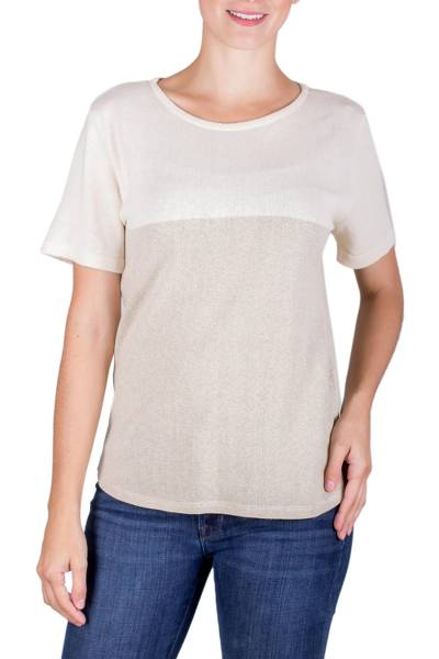 Natural cotton top, 'Quiet Whisper' - Natural Undyed Cotton Knitted Pullover Top for Women