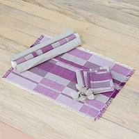 Cotton table linen set, 'Purple Style' (set of 4) - Cotton Table Linen Set in Purple (Set of 4) from Guatemala