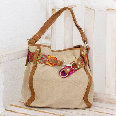 Leather accent cotton tote, Ixcaco Traditions