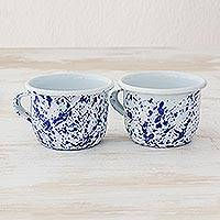 Enamelware cups, 'Abstract Beauty in Blue' (pair) - Blue and White Enamelware Cups from Guatemala (Pair)