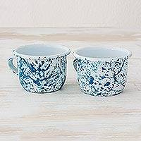 Enamelware cups, 'Abstract Beauty in Turquoise' (pair) - Hand Crafted Steel Enamelware Cups (Pair)