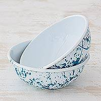 Enamelware bowls, 'Abstract Beauty in Turquoise' (pair) - Versatile Turquoise and White Enamelware Bowls (Pair)