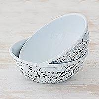 Enamelware bowls, 'Abstract Beauty in Black' (pair) - Black and White Spatter Multipurpose Bowls (Pair)