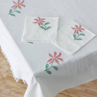 Cotton table linen set, 'Poinsettia Grace' - White Floral Cotton Table Linen Set from Guatemala