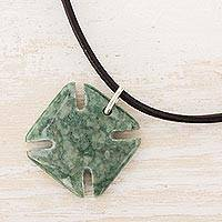 Men's jade pendant necklace, 'Pattee Cross in Green' - Men's Jade Pattee Cross Necklace in Green from Guatemala