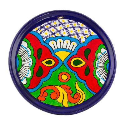 Hand-Painted Floral Ceramic Decorative Plate from Guatemala