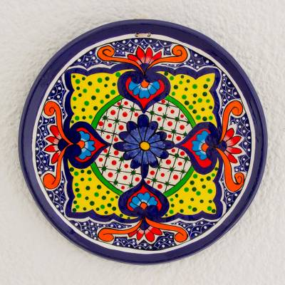 Ceramic decorative plate, 'Flowers of Enchantment' - Ceramic Decorative Plate with Floral Motifs from Guatemala