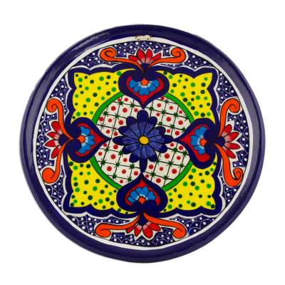 Ceramic Decorative Plate with Floral Motifs from Guatemala