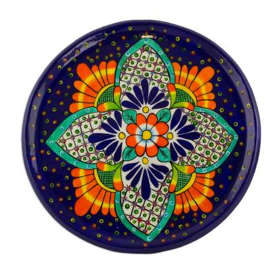 Floral Ceramic Decorative Plate from Guatemala