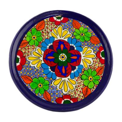 Floral Motif Ceramic Decorative Plate from Guatemala