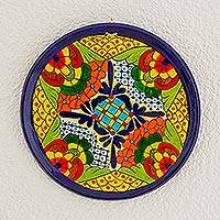Ceramic decorative plate, 'Floral Inspiration' - Flower Motif Ceramic Decorative Plate from Guatemala