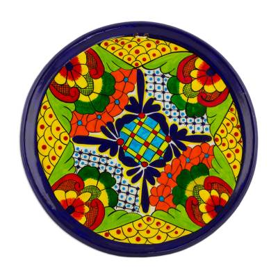 Flower Motif Ceramic Decorative Plate from Guatemala