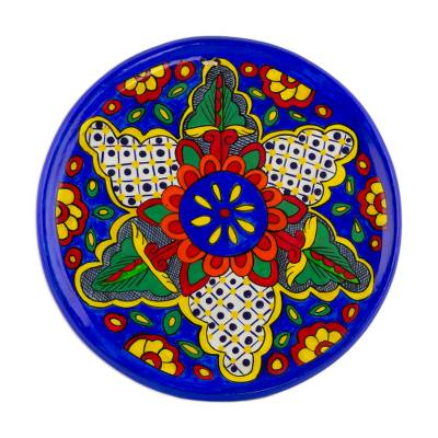 Floral Colorful Ceramic Decorative Plate from Guatemala