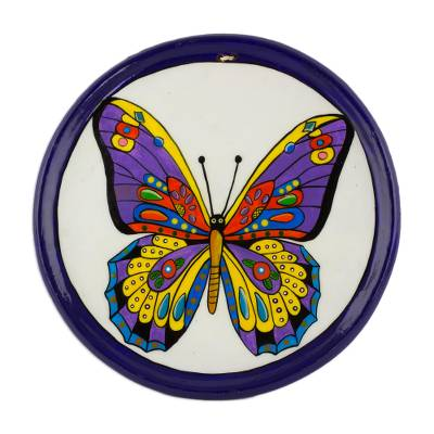 Colorful Butterfly Ceramic Decorative Plate from Guatemala