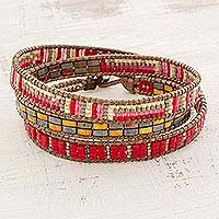 Glass beaded wrap bracelet, 'Fiery Sizzle' - Red and Multi-Color Glass Beaded Wrap Bracelet