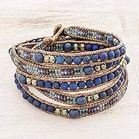 Lapis lazuli beaded wrap bracelet, 'Lake Treasure' - Blue and Turquoise Lapis Lazuli and Glass Bead Wrap Bracelet