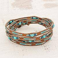 Glass beaded wrap bracelet, 'Lakeside Dawn' - Blue Glass Beaded Wrap Bracelet from Guatemala