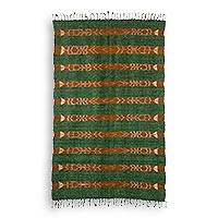 Wool area rug, 'Jasper Beauty' - Green 100% Wool Hand Dyed and Hand Woven Rug