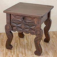 Wood side table, 'Distinguished' - Hand Carved, Hand Crafted Single Drawer Wood Side Table