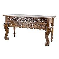 Wood sofa table, 'Floral Banquet' - Hand Carved, Hand Crafted Wood Table with Three Drawers
