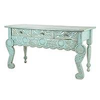 Wood console table, 'Elegant Patina' - Hand Carved, Hand Crafted Green Wood Table with Drawers