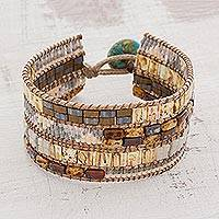 Glass beaded wristband bracelet, 'Palatial' - Earth Toned Glass Beaded Wristband Bracelet from Guatemala