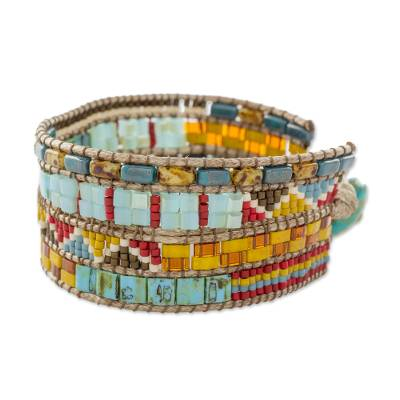Glass beaded wristband bracelet, 'Beach Dawn' - Turquoise and Yellow Glass Beaded Bracelet from Guatemala