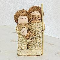 Agave, palm and cork nativity scene, 'Unity and Love' - Guatemalan Handmade Agave Palm and Cork Nativity Scene