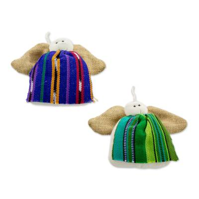 Artisan Crafted Cotton Angel Ornaments from Guatemala (pair)