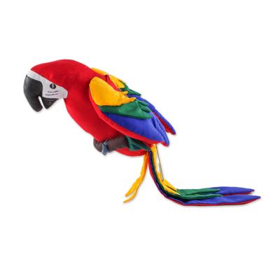 Guatamalan Handmade Hanging Scarlet Macaw Decorative Doll