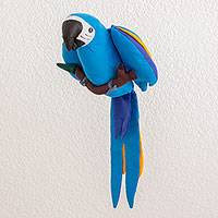Polyester decorative doll, 'Heavenly Macaw' - Handmade Hanging Blue Bird Decorative Doll from Guatemala