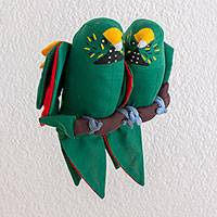 Polyester decorative doll, 'Love Amidst the Branches' - Guatemalan Handcrafted Hanging Parrot Pair Decorative Doll