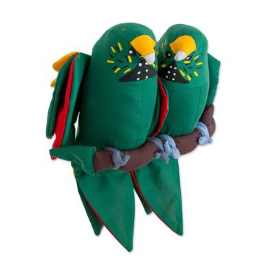 Guatemalan Handcrafted Hanging Parrot Pair Decorative Doll